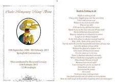 20 Funeral Memorial Card - Printed both sides