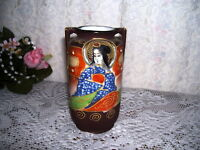 ORIENTAL URN VASE WITH MORIAGE PAINTING RAISED AND BEADED JAPAN