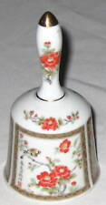 "Bell White w Orange Flowers & Goldtone 5.5"" China Bell"