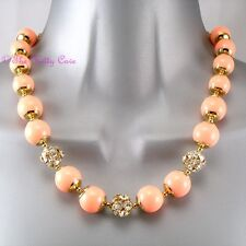 Coral Orange Chic Bubble Bead & Crystal Gold Toggle Collar Statement Necklace BN