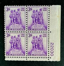 US Stamps, Scott #837 3c 1938 Plt blk NW Territory Sesquicentennial VF/XF M/NH.