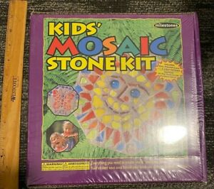 Mosaic Stepping Stone Kit Kids Brand-Includes Real Stained Glass/4 Patterns-NEW