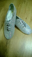 Sparkly Hologram Silver Jazz Dance Shoes  Child Size 1