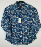 NWT Robert Graham Mens Size Medium In The Abstract Blue $198 Classic Fit