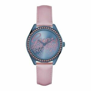 Guess Women's Watch Ladies Stainless Steel Leather Band W0161L3 Blue/Pink