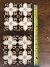 "Original  Victorian Minton Floor Tile, Beautiful Gold / White/ Black 6"" X 6"""