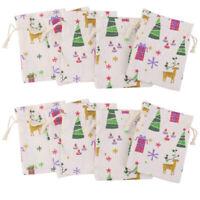 10pcs Christmas Burlap Jute Hessian Wedding Favor Gift Bags Drawstring Pouches