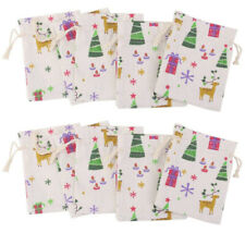 10pcs Christmas Burlap Jute Hessian Wedding Favor Gift Bags Drawstring Pouches