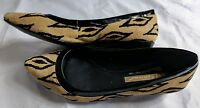 BCBGeneration Flats Size 6B Pointed Tow Aztec Tan Black Suede Flats