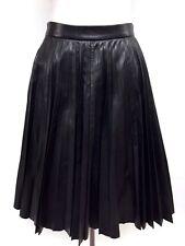 PRADA Black Lambskin Leather Knee-Length Pleated Skirt Sz38
