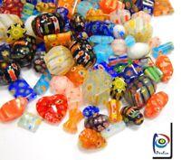 40 Millefiori Perlen Bunte Perlenmischung Glasperlen Mix Schmuck 4 ~ 20 mm R194