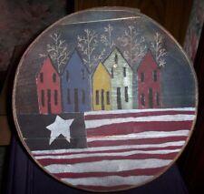 Vintage Handmade Hand Painted Wooden Circular Hat Shaker Box
