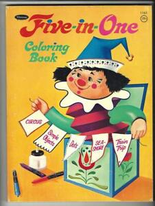 FIVE IN ONE COLORING BOOK 1968 Whitman #1163 Connect The Dots, Etc. 128 Pages