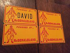 POWERED BY McDONALDLAND 1976 Vintage Metal Bike License Plate McDonalds Set 4