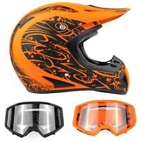 Adult Matte Orange Motocross Helmet Combo Black Orange Goggles DOT Off-road ATV