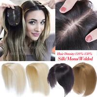 Silk Mono Welded Human Hair Topper Indian Virgin Black Brown Blonde Wig Love US