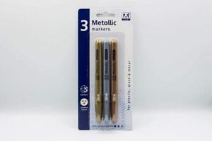 Anker 3 Metallic Markers Stationery For Plastic, Glass And Metal