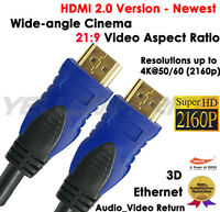 UHD HDMI 2.0 Cable (4K@60Hz) Ready - 18Gbps Speed - 28AWG Cord - [3FT - 2 Pack]