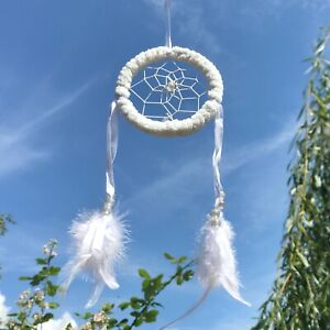 New Small Fluffy White Frame Dream Catcher Native American Wall Hanging Mobile