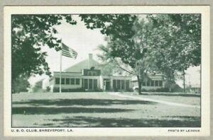 U.S.O. Club Service Men, Princess Park, Shreveport Louisiana LA 1942 Postcard