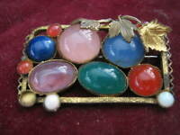 "Multi-color ""Semi-Precious"" CZECH GLASS Vermeil Brooch, Grape Leaves, Lapis Opal"