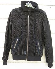 Oakley Black Wide Wale Corduroy Bomber Jacket Quilted Insulation Wms XS