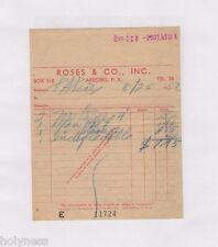 VINTAGE INVOICE / ROSES & CO / ARECIBO PUERTO RICO / 1952 #2 / RARE
