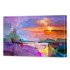 Purple Sunset Canvas Art | Framed Ready to Hang Abstract Landscape Wall Prints