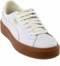 PUMA Basket Platform Core Womens White Leather Lace up SNEAKERS Shoes 10