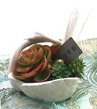 Faux succulent plant arrangement ceramic swan planter feathers, eggs, orb, love