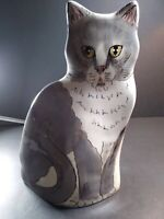 Cats By Nina Lyman Ceramic Gray White Cat Vase