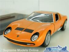 LAMBORGHINI MIURA P400 MODEL CAR 1971 1:34 SIZE ORANGE + DISPLAY CASE KINSMART K