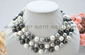 """Fashion 12mm white black gray round south sea shell pearl beads necklace 48"""""""