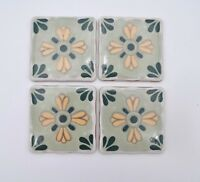 Vintage Mexico Tile Ceramic Painted Trivet Coaster Teal Turquoise Green Set of 4