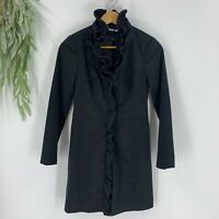 White House Black Market Womens Jacket Size 0 Trench Blazer Ruffle Front Satin