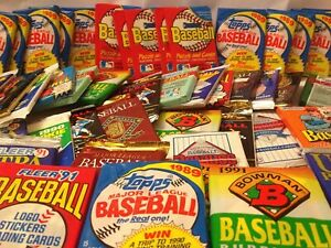 Old Baseball Cards Unopened Packs from Wax Box - Vintage 100 Card Lot Plus BONUS