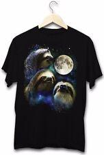 Three Sloth Moon Funny Stoner Lazy Animal Cute Festival Clubbing Cool T-Shirt