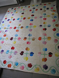 Quilt Blanket hand made Sweet Peas appliqué museum quality 1930s