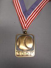 "gold Baseball medal with wide Rwb neck drape 2"" x 2 1/2"" size"