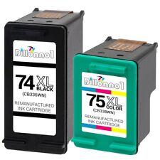 2Pk #74XL 75XL Black/Color Ink for HP Photosmart C4275 C4280 C4285 C4294 C4340