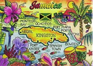 "JAMAICA MAP CARIBBEAN FRIDGE COLLECTOR'S SOUVENIR MAGNET 2.5"" X 3.5"""