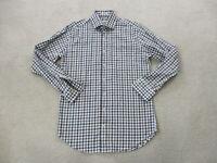 Peter Millar Button Up Shirt Adult Medium White Brown Plaid Casual Long Sleeve