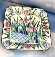 "Vintage Ayame Japan Porcelain Trinket Dish Iris Flowers Gold Trim Signed 6"" x 6"""
