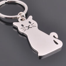 Fashion Lovely Cat Keychain Keyring Silver Plated Key Chain Ring Charm Jewelry