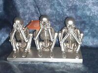 Martha Stewart Halloween Decor See Hear Speak No Evil Silver Skeletons New trio