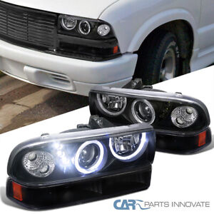 Fit Chevy 98-04 S10 Blazer Black SMD LED Halo Projector Headlights Bumper Lamps