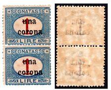Occupazione terre redente  1919 Trento e Trieste Segnatasse coppia 1 corona