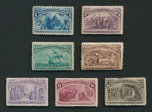 US STAMPS 1893 COLUMBIAN ISSUE MINT OG TO 10c Sc #237 (No 4c)