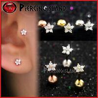 Mini Diamond Flower Ear Cartilage Helix Tragus Stud Ring Bar Piercing Earring