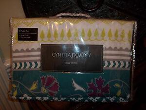 NIP Cynthia Rowley Green/Lime/Gray/Plum Twin Duvet Cover Set 2pc